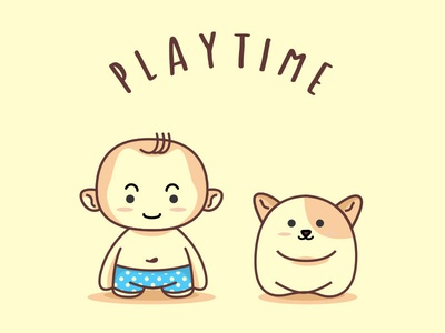Playtime toy illustration boy cartoon baby