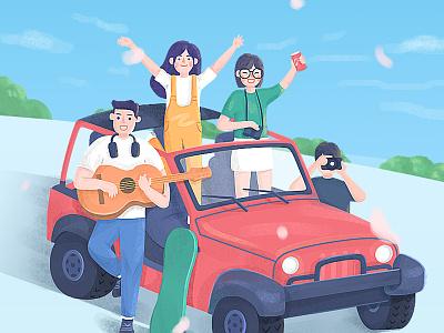 Graduation trip travelling self-driving