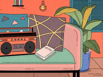 Retro home illustration