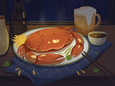 Let's eat crab. illustration
