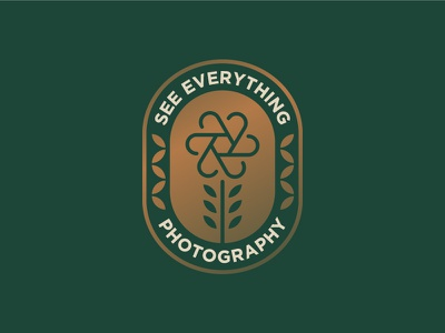 See Everything Photography logo brand camera typography colour flower shutter icon aperture illustration design