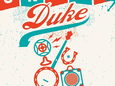 Union Duke artprint horseshoe amp guitar banjo microphone illustration design gigposter gig music band