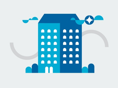 High Rise ui brand icon logo illustration design sky clouds cleaningservice clean star house building