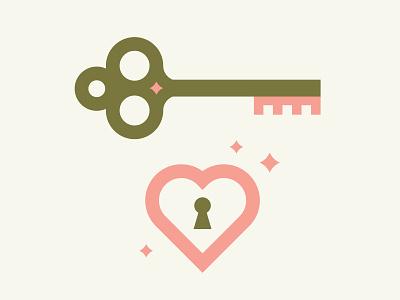 Key + Heart illustration icon design lock star heart key