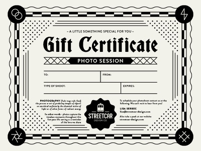 Gift Certificate camera typography logo aperture streetcar brand lightening bolt shutter icon illustration design photography certificate gift photo gift certificate