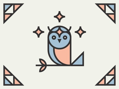 HOOT HOOT star stained glass design illustration icon owl