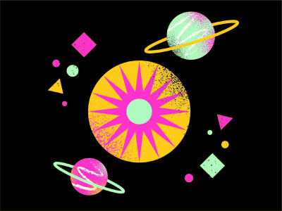 Planets and Space illustration design shapes sun stars space planets