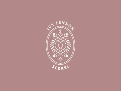 IVY LENNON badge star moon logo icon crest flowers ivy