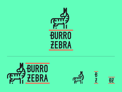 Burro Zebra burrito logo system typography animal zebra graphic design mexico logo branding