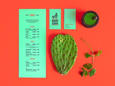 Burro Zebra orange teal cactus salsa nopal cilantro menu zebra burrito burro mexican mexican food typography vector logo design graphic design design logo mexico branding