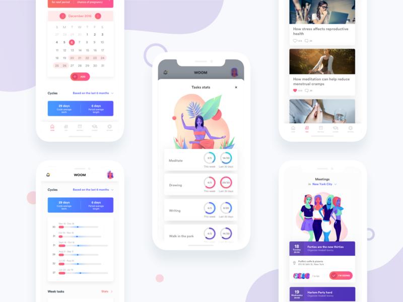 WOOM - Period Tracker creative direction creative design branding design native ui app mobile illustration