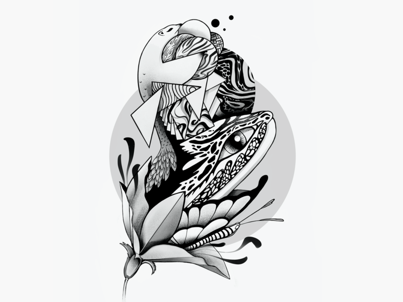🖤🤍- Flora &  Fauna flower animal zentangle procreate art procreate blackandwhite digitalart drawing textile design textile society6 illustration