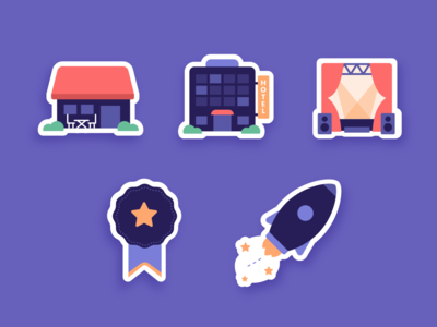 Stickers iconset icons vector branding design colors drawing illustration