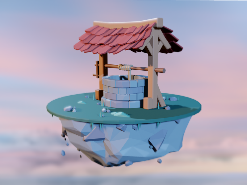 Water well low poly lowpoly blender3d blender 3d