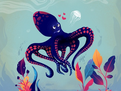 Octopus love romance love 2d character 2d art cartoon procreate drawing illustration