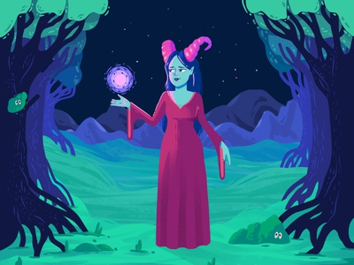 There is a light that never goes out 🎵 montains light woman trees woods story tail game children character drawing colors design illustration