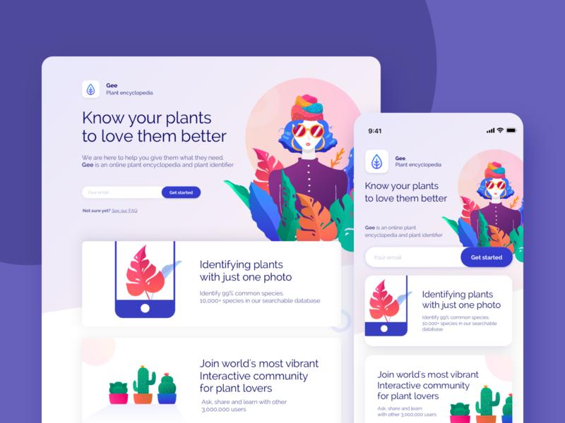 Gee Plant encyclopedia character design character visual design vector cactus ux web landing design desktop ui colors app mobile illustration