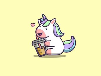 cute unicorn branding vector logo illustration icon design app
