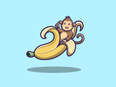 Cute Banana Monkey app branding vector logo illustration icon design
