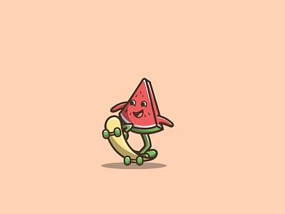 watermelon skateboard waterlemon fruid skateboard macot cartoon graphic design vector logo illustration icon design
