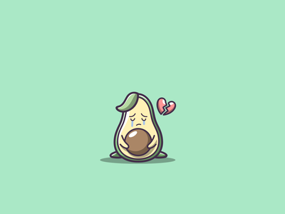 sad avocado cute avocado mascot cartoon graphic design vector logo illustration icon design