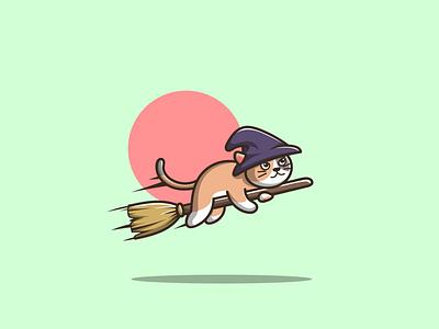 witch cat branding halloween cute mascot barnd cat witch cartoon graphic design vector logo illustration icon design