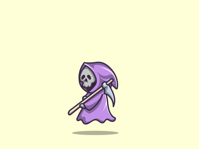grim reaper halloween gost cute mascot grim reaper halloween branding cartoon graphic design vector logo illustration icon design