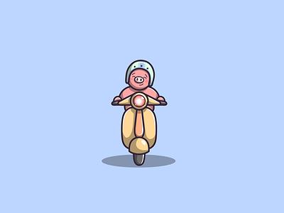 pig riding a scooter ngab animals branding mascot pig cartoon graphic design vector logo illustration icon design