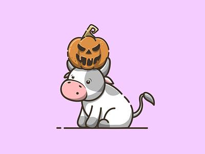 cow with pumpkin halloween halloween cute cow pumpkin branding cartoon graphic design vector logo illustration icon design