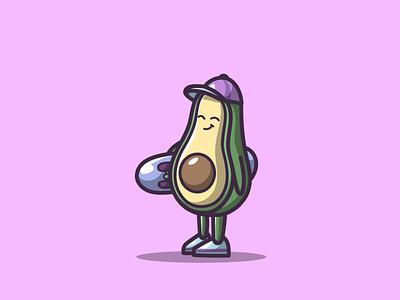 Avocado skateboard skateboard mascot fruid cute avocado branding cartoon graphic design vector logo illustration icon design