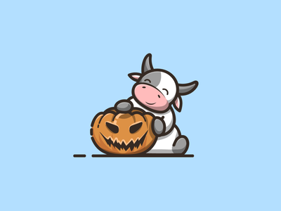 cow with pumpkin halloween cute cow with cow with pumpkin cow with pumpkin halloween branding cartoon graphic design vector logo illustration icon design