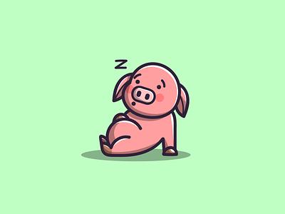 PIG mascot pig cute branding cartoon graphic design vector logo illustration icon design