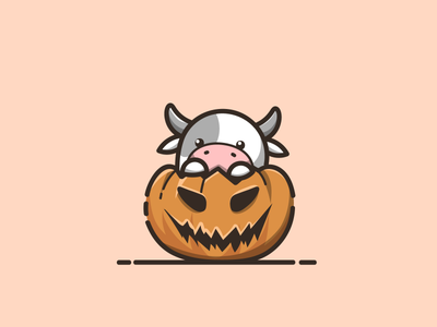 cow with pumpkin halloween cow with cow with pumpkin cow with pumpkin halloween branding cartoon graphic design vector logo illustration icon design