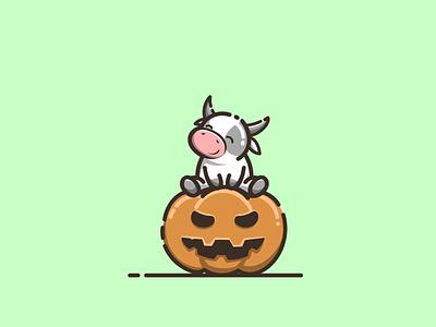 cow with pumpkin halloween halloween pumpkin halloween cute cow mascot branding cartoon graphic design vector logo illustration icon design
