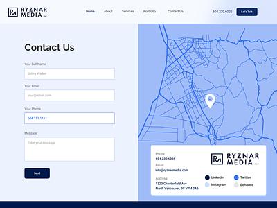 Ryznar Media / Contact Page design websitedesign ux webdesign