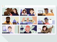 MetaLab Remote Working remotework design metalab people meeting zoom character design characters illustration