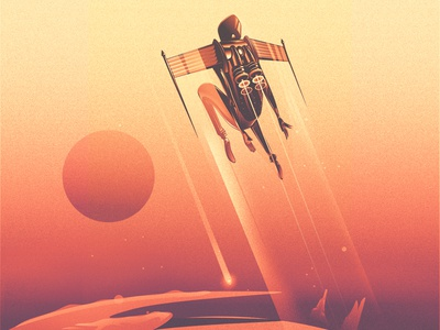 Above the clouds fiction science planets stars solitude jetpack grain noise photoshop vector sci-fi illustration