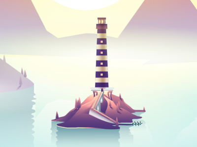 Morning Landscape dawn water lighthouse illustration vector