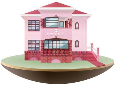 Roberta Flats  place happy cape town architecture deco illustration vector