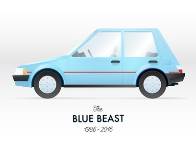 First Car conquest toyota blue 1980s car vector