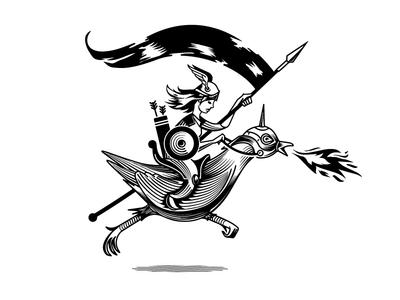 War Hen Logo battle joust rider hen war logo beer craft