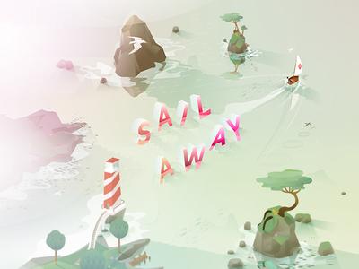 Sail Away adventure trip away sail boat ocean illustration vector