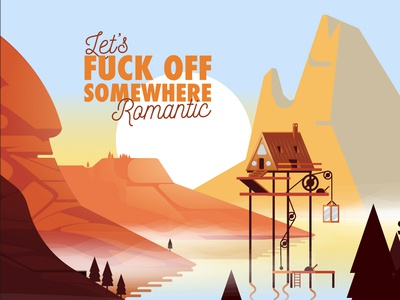 Somewhere Romantic game art hills summer morning vector water waterfall illustration