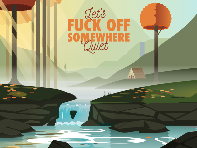 Somewhere quiet game art illustration serene house hills water waterfall vector