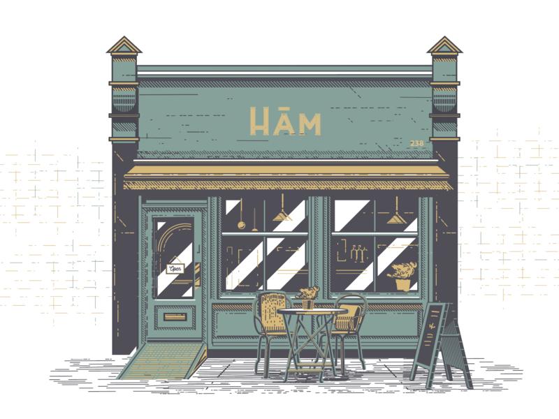 West Hampstead Cafe design house vector peace london cafe illustration vintage