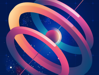 Colours + Shapes + Space vector illustration gradient colorful space