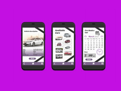 UI/UX Design of Rent a ride Mobile App vector branding logo ui prototype mobile ui design illustration design app design app