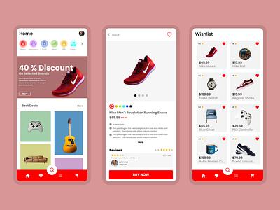 Ecommerce - Shoes - Design - UI / UX - Graphics vector illustration design app 3d ui logo graphic design branding animation