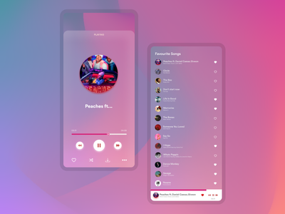 Music Player - UI / UX - Visula Graphic - Glassmorhism vector illustration design app 3d ui logo graphic design branding animation