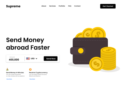 Money Transfer Landing Page crypto currency supreme wallat rupee dollar bitcoin web website money transfer landing page transfer money